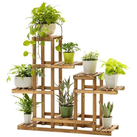 Multi-Tier Wood Plant Stand Planter Rack Flower Pots Holder Display - 8' x 10'