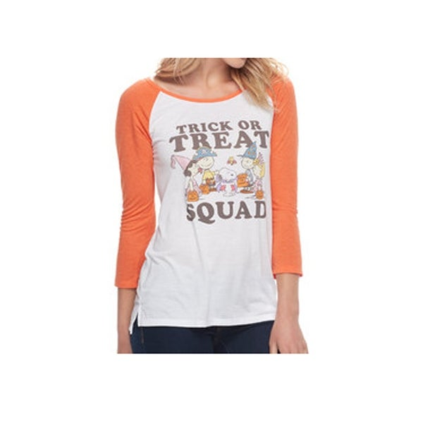 06294197cc7 Peanuts Women Trick Or Treat Squad Halloween Shirt Regular Fit White Orange