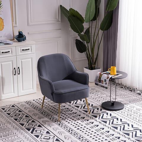 Moda Modern Soft Velvet Material Gray Ergonomics Accent Chair