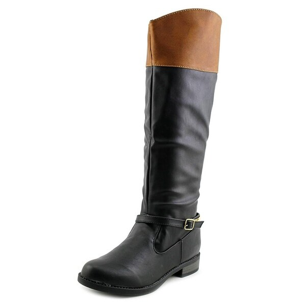 Qupid Turner-16 Women Round Toe Synthetic Black Knee High Boot
