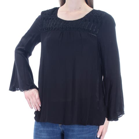 JESSICA SIMPSON Womens Black Lace Bell Sleeve Jewel Neck Hi-Lo Top Size: M
