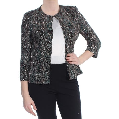 JESSICA HOWARD Womens Black Sequined Printed Jacket Size 10
