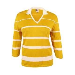 Anne Klein Women's Cotton Striped Sweater (Bouquet Yellow/Optic White, XL) - bouquet yellow/optic white - xL