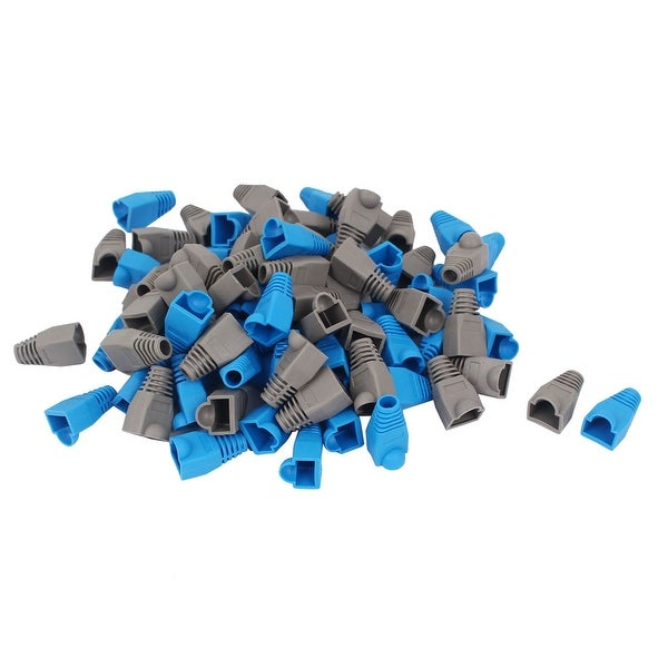 Unique Bargains 90 Pcs Gray Blue RJ45 8P8C Cat5 Connector Boot Cap Cover for Network Cable