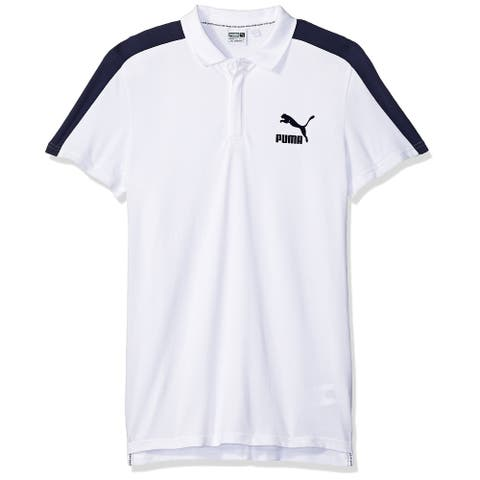 Puma Mens Shirt White Size XL Polo Rugby Short Sleeve Colorblock Logo