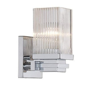 """Millennium Lighting 341 Single Light 7.5"""" Tall Bathroom Sconce with Clear Ribbed Glass Shade"""
