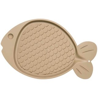 "Tan - Bella Spill-Proof Fish Shaped Cat Mat 19""X12"""