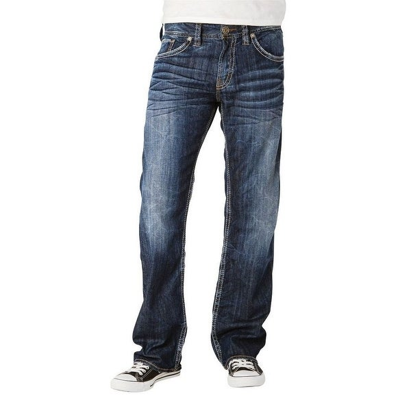 Silver Jeans Denim Mens Zac Relaxed Straight Faded Dark M4408SDA495
