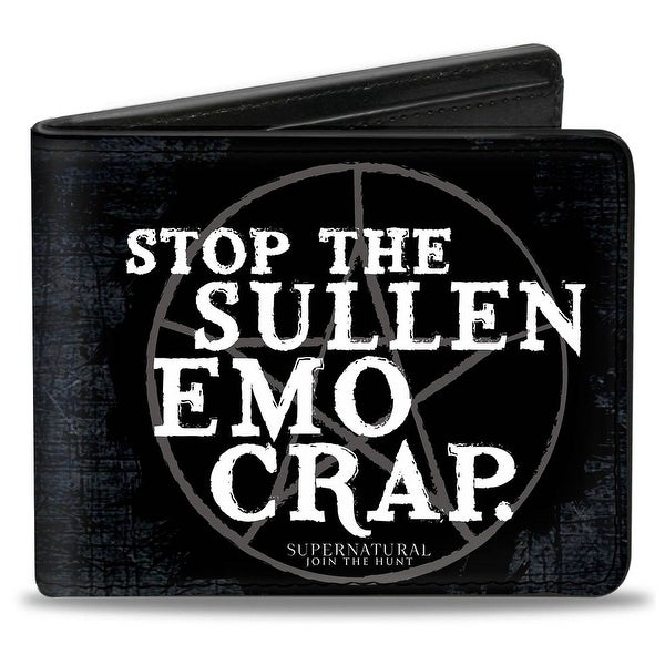 Stop The Sullen Emo Crap Pentagram Black Grays White Bi Fold Wallet - One Size Fits most