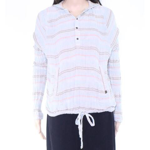 prAna Womens Sweater Blue Size Medium M Hooded Stripe Drawstring Waist