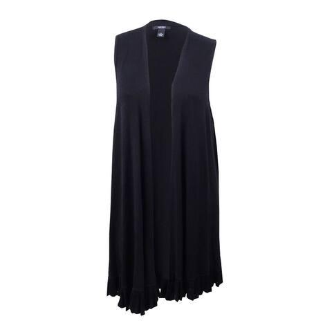 Alfani Women's Plus Size Ruffled-Hem Sweater Vest (1X, Deep Black) - Deep Black - 1X