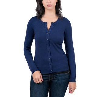 RC by HS Collection Navy Blue Womens Crewneck Cardigan