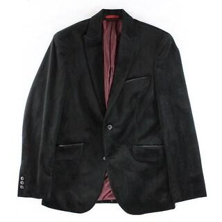 Alfani NEW Black Mens Size Small S Two Button Slim Fit Velvet Blazer