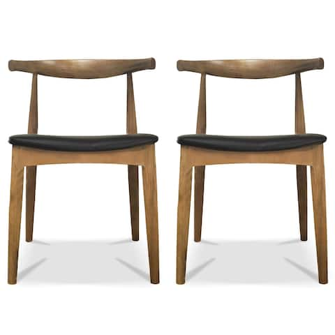 2xhome Set of 2 Mid Century Modern Walnut Brown Dark Wood PU Leather Cushion Padded Seat Kitchen Dining Armless Side Chair