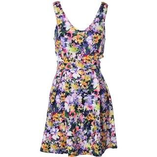 Aqua Womens Juniors Cut-Out Floral Print Party Dress - L
