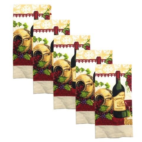 Kitchen Collection 5-Piece Wine Garden Towel Set, Cream, 15x25 Inches - N/A