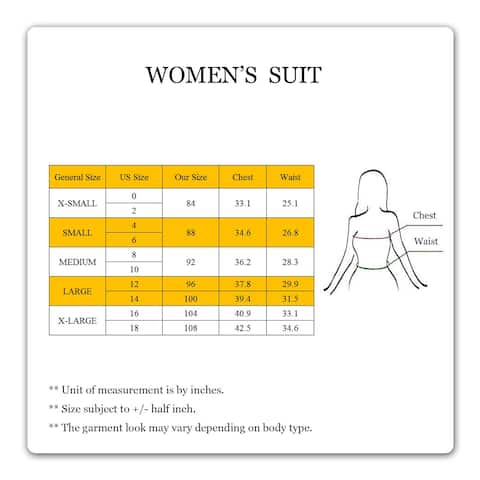 Women Business Suit Set for Office Lady Two Pieces Slim Work, Black, Size 96