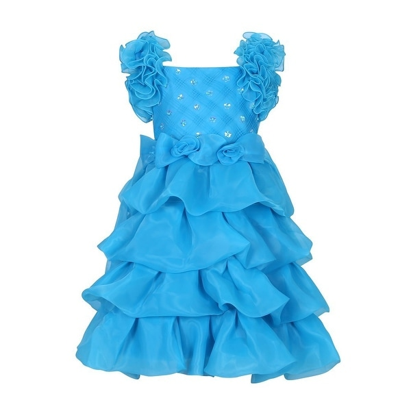 dd428485f Richie House Little Girls Cerulean Ruffle Rosette Accent Flower Girl Dress