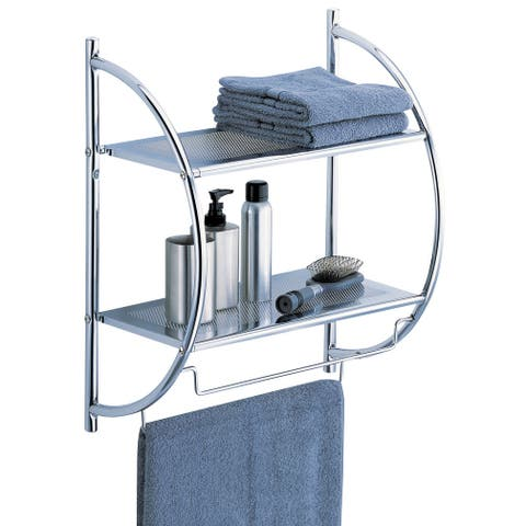 """Organize It All 1753W-B 17-1/2"""" Wide Two Tier Metal Wall Shelf with Two Towel Bars - - Chrome"""