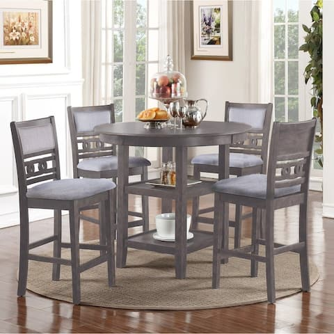 Gia 5-pc Counter Dining Set w/ 42-inch Table & 4 Chairs, Gray