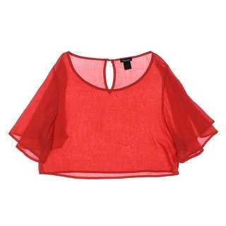 Stoosh Womens Juniors Crop Top Colored Flutter Sleeves