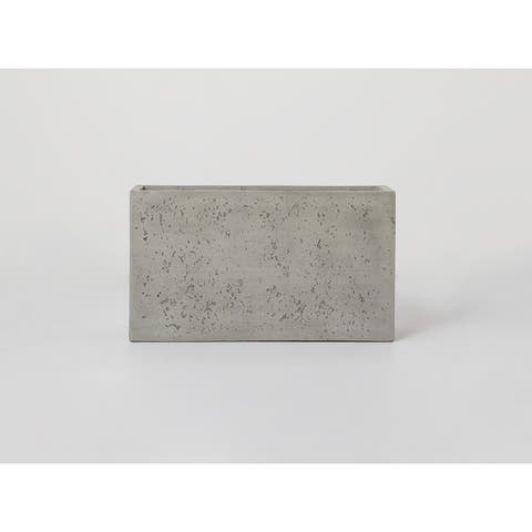Cement Finish 1 - Piece Fiber Stone Rectangle Planter Pot