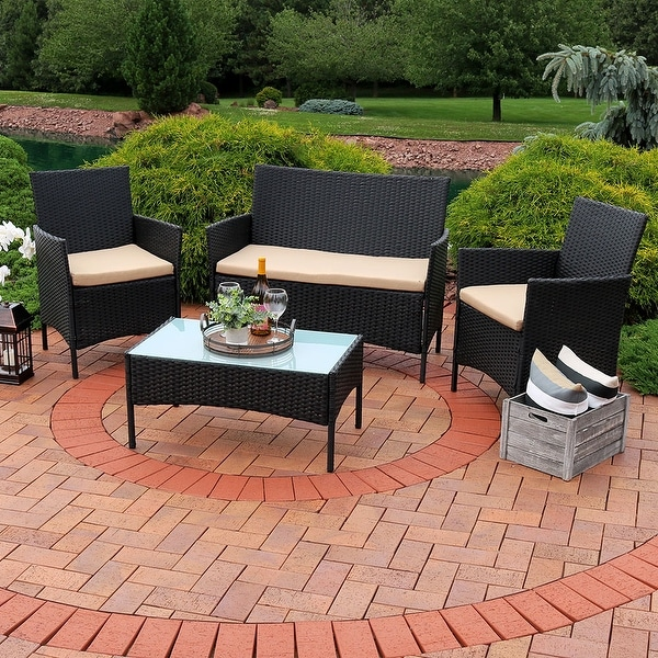 Sunnydaze Enmore Wicker Rattan 4 Piece Patio Furniture Set with Tan Cushions