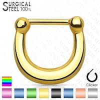 Plain Polished and Titanium Anodized 316L Surgical Steel Septum Clicker (Sold Ind.)
