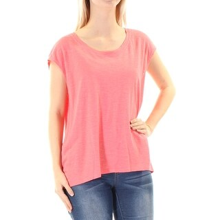 EILEEN FISHER $98 Womens New 1354 Coral Scoop Neck Cap Sleeve Casual Top S B+B