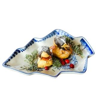 festive  hand built porcelain cobalt  tray