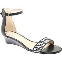 Cole Haan Women's Genevieve Weave Demi Wedge Sandal Black Leather/Black/White Genevieve Weave