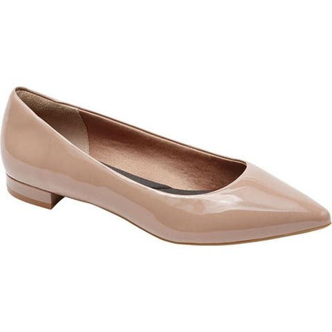 Rockport Women's Total Motion Adelyn Ballet Flat Dark Warm Taupe Soft Patent