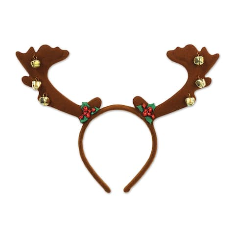 Beistle Christmas Party Decorative Reindeer Antlers with Bells (1/Card) - 12 Pack