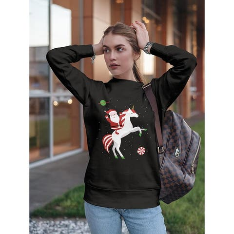 Santa On A Unicorn Women's Sweatshirt