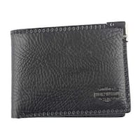 "Harley-Davidson Men's Gunmetal Leather Billfold w/ Removable ID GM6538L-BLACK - 4.5"" x 3.5"""