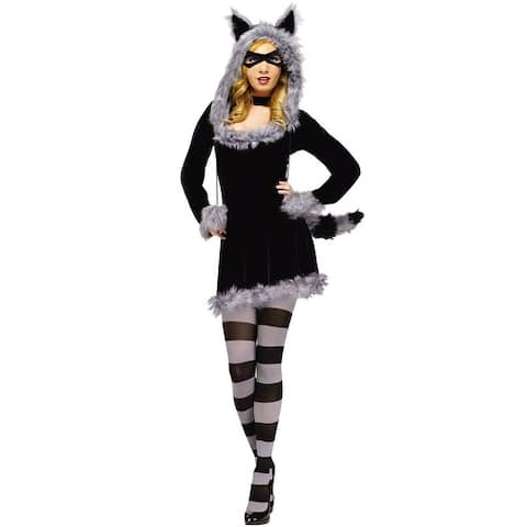 Fun World Racy Raccoon Adult Costume - Black/Grey