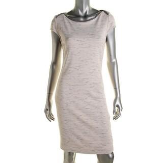 Three Dots Womens Slub Contrast Trim Wear to Work Dress
