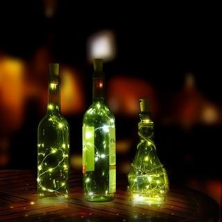 """LED Bottle Cork String Lights 30"""" Wine Bottle Fairy Mini String Lamp Cool White - 7'10"""" x 11'2"""""""