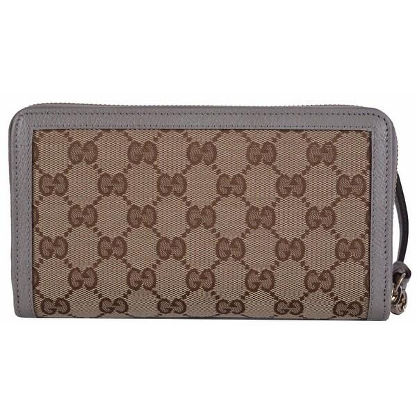 Gucci Women's 323397 GG Guccissima BREE Zip Around Beige & Grey Wallet