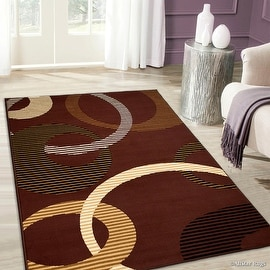 """Allstar Dark Brown Area Rug. Contemporary. Abstract. Traditional. Formal. Shapes. Squares. Circles (7' 7"""" x 10' 6"""")"""