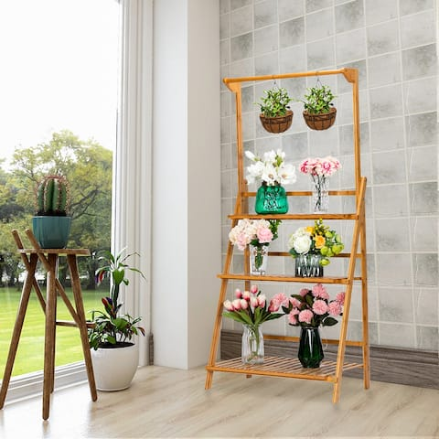 100% Bamboo Plant Frame Three Layers, Balcony Bamboo Frame Folding with Hanging Rod Flower Frame