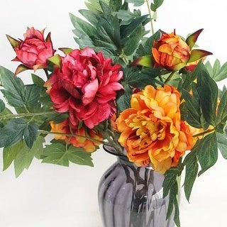 "FloralGoods Luxury Real Touch Peony Flower Leaf Stem in Orange or Red 24"" Tall"
