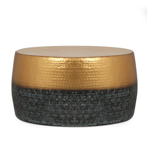 """Muffley Modern Handcrafted Two-Toned Aluminum Drum Coffee Table by Christopher Knight Home - 25.50"""" L x 25.50"""" W x 13.00"""" H"""