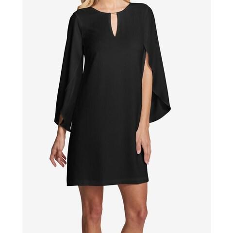 Kensie Black Women Size 8 Flutter-Seeve Hardware Keyhole Shift Dress