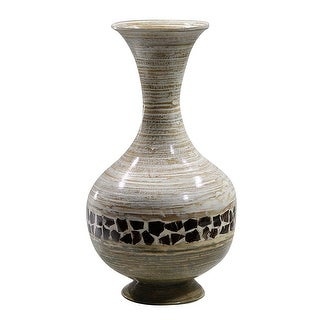 "22"" Spun Bamboo Vase - Bamboo In Distressed White And Green W/ Coconut Shell"