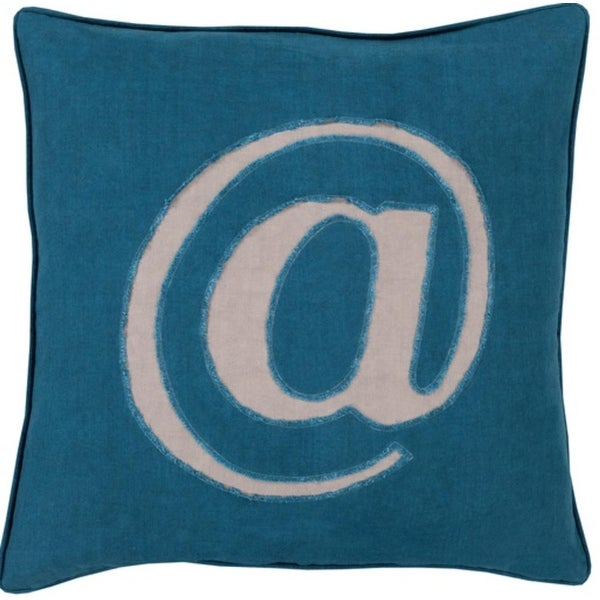 """18"""" Teal Blue and Mist Gray Trending Decorative @ Novelty Throw Pillow- Down Filler"""