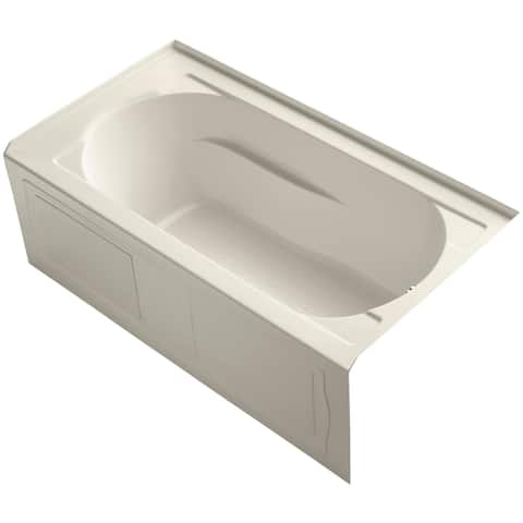 "Kohler K-1184-RA Devonshire Collection 60"" Three Wall Alcove Soaking Bath Tub with Right Hand Drain"
