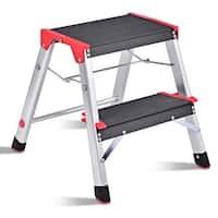 Costway 2 Step Aluminum Lightweight Ladder Folding Non-Slip Platform Stool 330Lbs Load - as pic