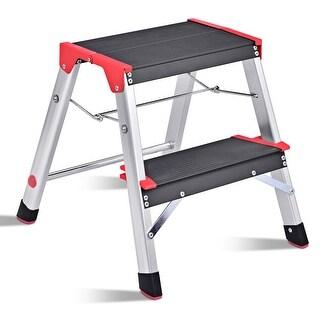 Gymax Folding Aluminum Lightweight Ladder 2 Step Non-Slip Platform