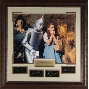 Ray Bolger unsigned Wizard of Oz 29x30 Engraved Signature Series Leather Framed w/Cast (Scarecrow) (entertainment/photo)